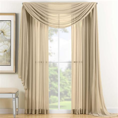 sheer curtain scarf ideas gold sheer scarf valance window treatments design ideas