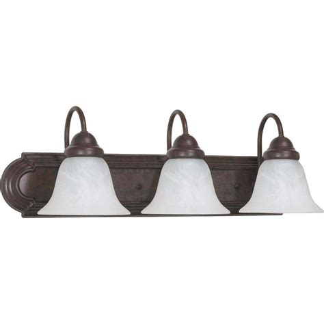 glomar 3 light mahogany bronze vanity light with chagne linen washed glass hd 1265 the home glomar sophrosyne 3 light bronze bath vanity light with alabaster glass hd 325 the home depot