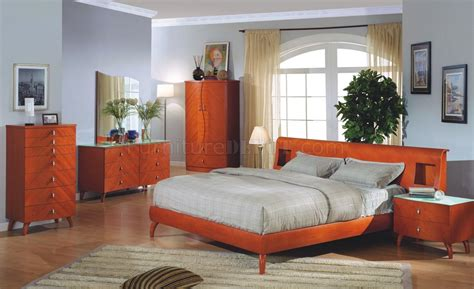cherry finish bedroom furniture cherry finish contemporary bedroom set w optional case goods