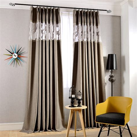 block out curtain high quality cotton and linen gray thick blackout curtains