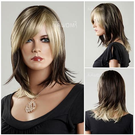 women cap haircut cosplay kanekalon side swept bang shoulder length