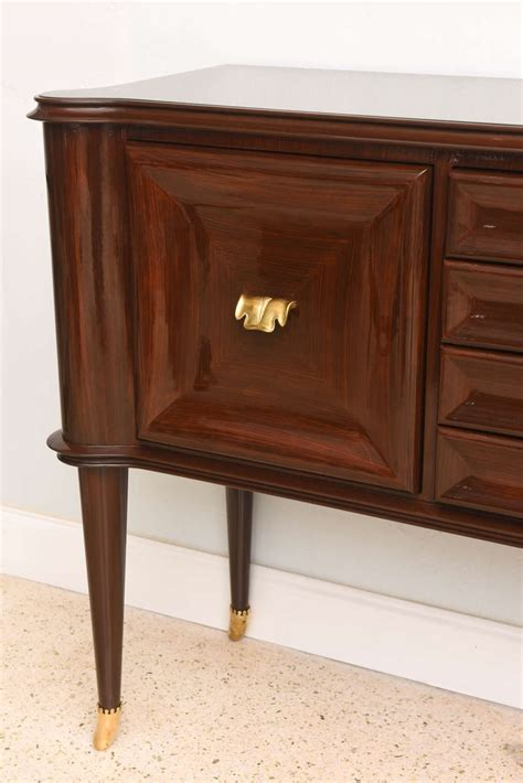 italian modern mahogany brass and glass sideboard or