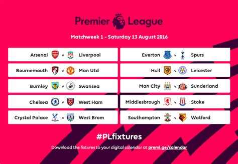 epl weekend fixtures 2016 17 premier league fixtures released european