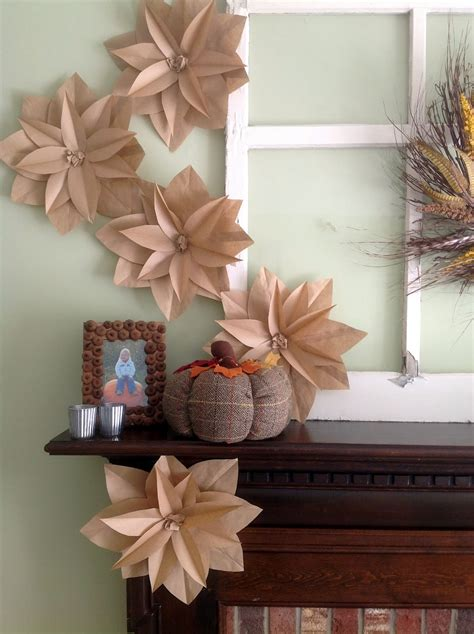 Paper Flower At Home - home made modern fall mantel with brown paper bag flowers