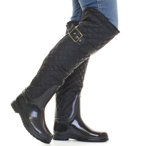 womens black quilted fleece lined wellies wellington snow