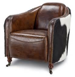 Cowhide Armchairs Fink Rustic Brown Leather Hair Hide Upholstered Arm Chair