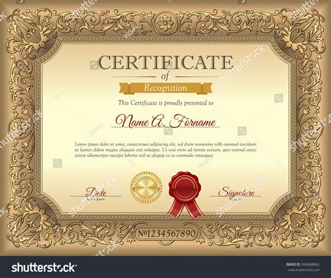 vintage certificate recognition template ornament frame