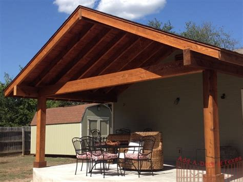 Gable Patio Roof by Cedar Gable Exposed Beam Roof Concrete Patio Add A