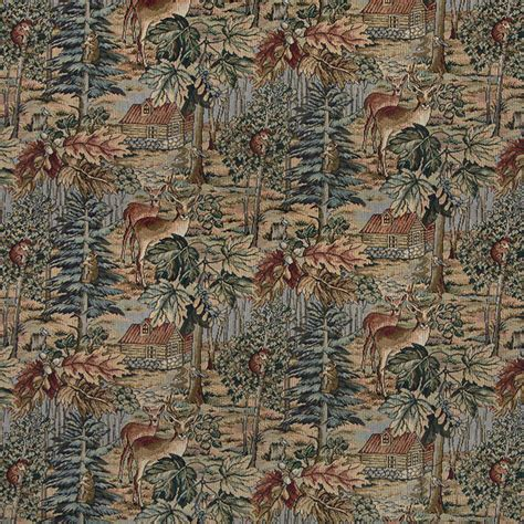 Themed Fabric Upholstery by Wilderness Deer Cabins Trees Leaves Theme Tapestry