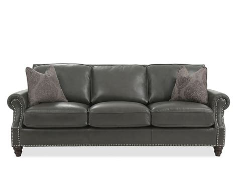 Leather Sofa Nailhead by Nailhead Accented Leather Sofa In Gray Mathis Brothers