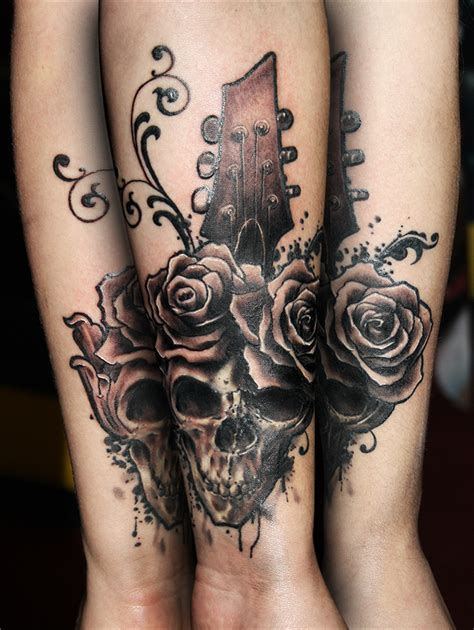 tattooed heart ultimate guitar skull with guitar by tikos on deviantart