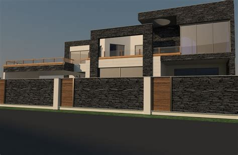 Modern House Front by Why Beautiful Boundary Wall Design Is Essential For Modern