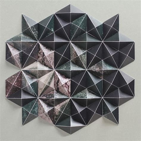 Folded Paper Painting - stunning geometric sculptures created with just pieces of