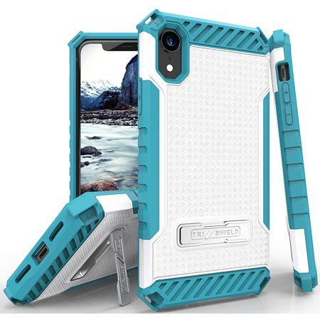 iphone xr tri shield rugged cover with metal kickstand wrist lanyard for apple