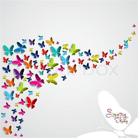 colorful paper greeting card with colorful paper butterflies vector