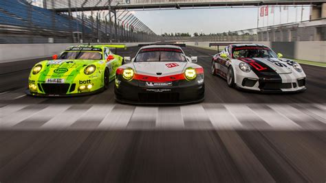 porsche modified cars journalists test a trio of racing cars