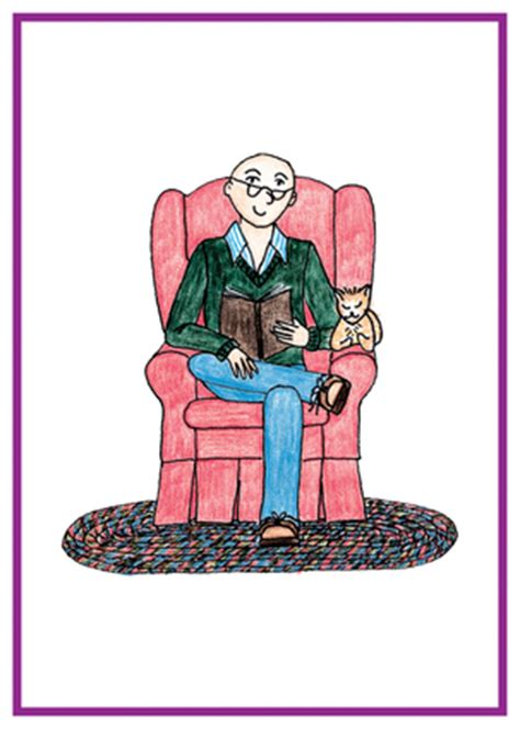 Sitting Easy Chairs Bald Sitting In Easy Chair Reading A Book American