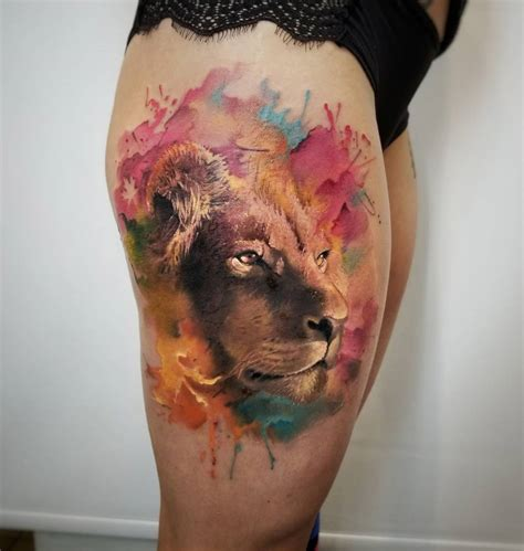 watercolor tattoo lion watercolor www pixshark images
