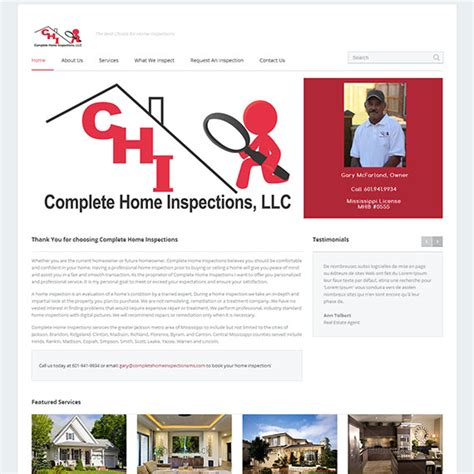 home inspector web design reztech media web design