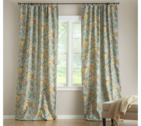 pottery barn drapes and curtains blue floral curtain vanessa floral drape pottery barn