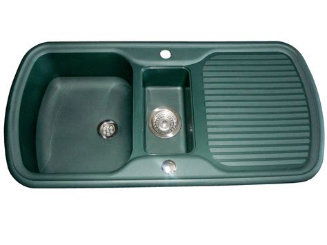 Caravan Kitchen Sinks | leisure consort green 1 5 bowl caravan sink and waste kit