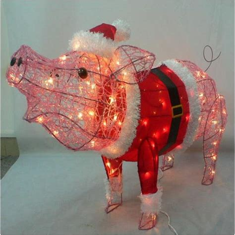 3 pink christmas santa pig piglet acrylic lighted tinsel