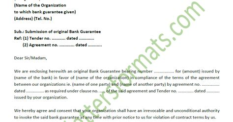 covering letter for bank guarantee covering letter format for of bank guarantee