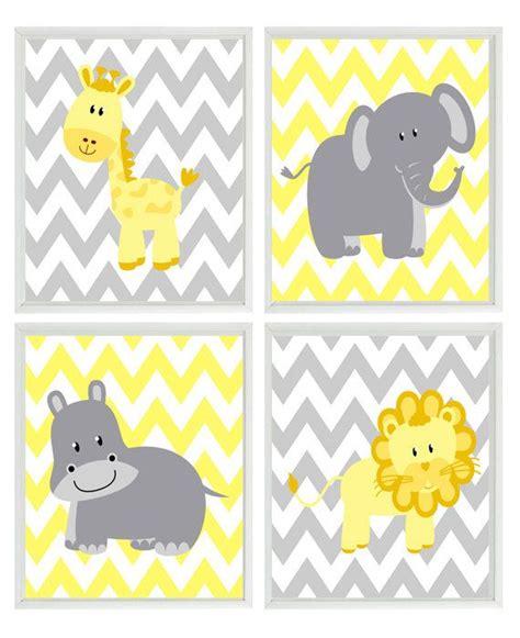 Gray Elephant Nursery Decor Yellow Gray Nursery Chevron Elephant Giraffe Hippo Safari Wall Print Set Children