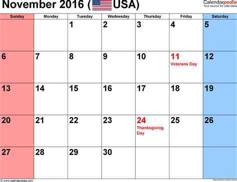 november 2016 calendars for word excel pdf