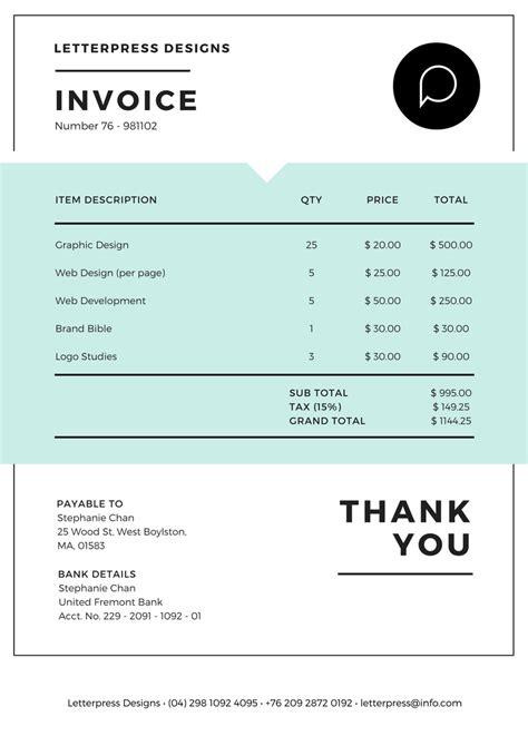 Canva Invoice | free online invoice maker design a custom invoice in canva