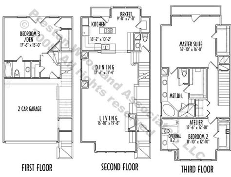 3 floor house plans hillside house plans 3 story house plans narrow lot