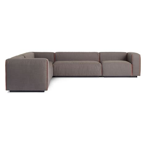 leather sectional with large ottoman cleon large modern sectional sofa blu dot