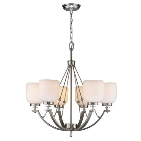 World Imports Chandeliers World Imports 6 Light Brushed Nickel Chandelier With White Frosted Glass Shade Es0010sba The