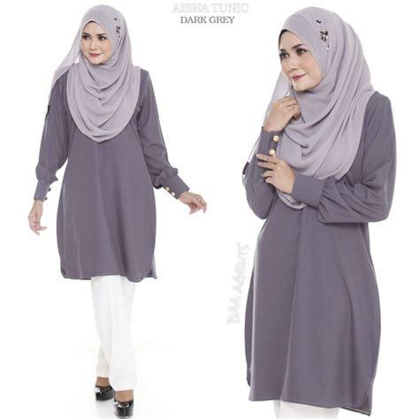 Blouse Baju Muslim Grey blouse muslimah raya aisha grey saeeda collections