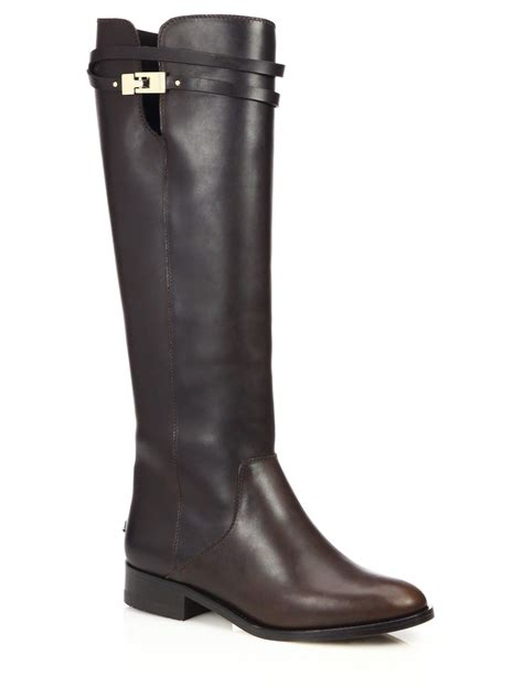 jimmy choo boots lyst jimmy choo hyson knee high leather boots in brown