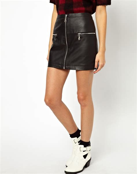asos asos mini skirt in leather with zips at asos