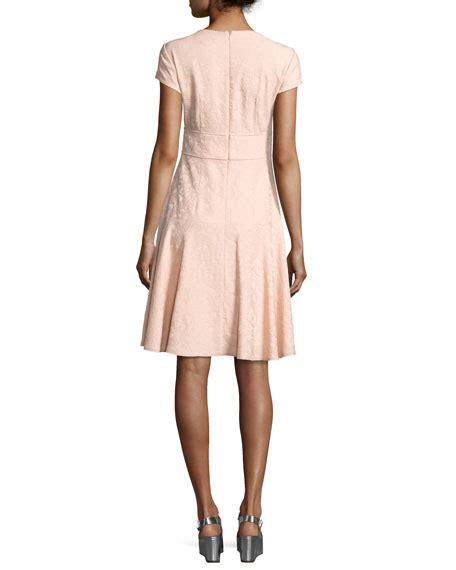 Dress Of The Day Jacquard Dress by Nanette Lepore Cap Sleeve Paisley Jacquard Dress Pink