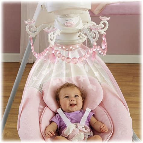 pink baby swing with canopy motorized chandelier mobile with starry light show and