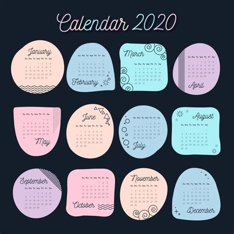 pastel colors calendar   template  vector