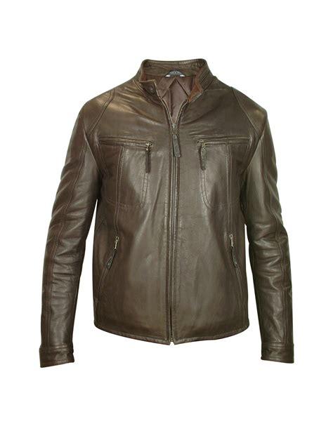 genuine leather motorcycle jacket forzieri mens brown genuine leather motorcycle jacket