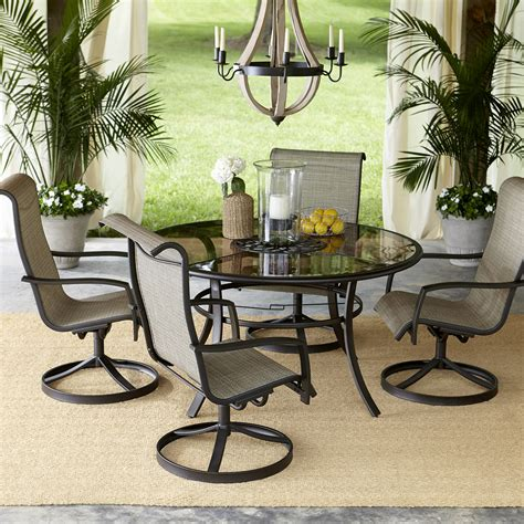 outdoor patio furniture dining sets garden oasis providence 5 swivel dining set