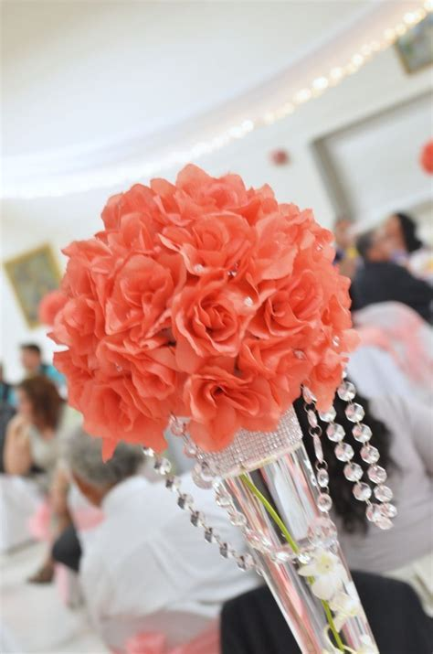 Coral beach wedding table decor, coral wedding