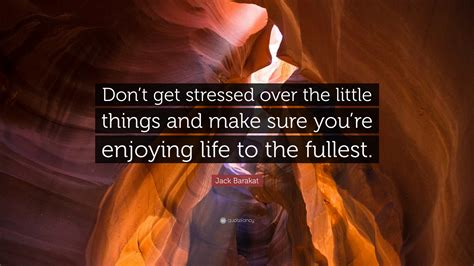 Don T Get Stressed Over The Little Things And Make Sure - jack barakat quote don t get stressed over the little