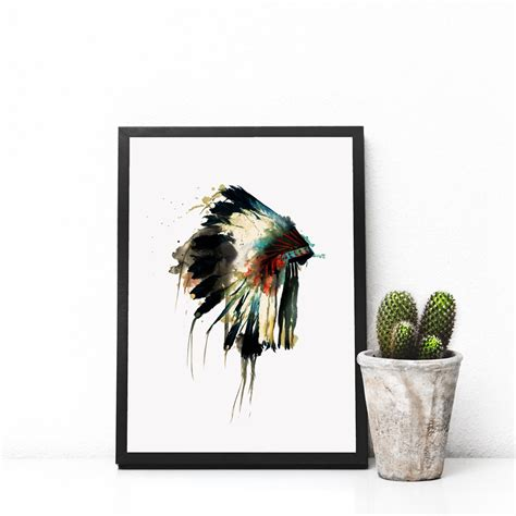 hanging art native indian american headdress art print feather wall
