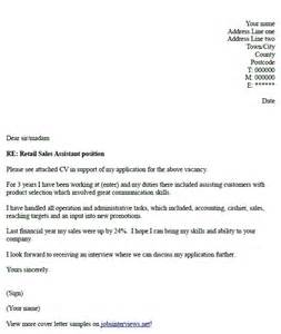 Retail Cover Letters by Retail Sales Assistant Cover Letter Exle Hunt Retail Cover Letter