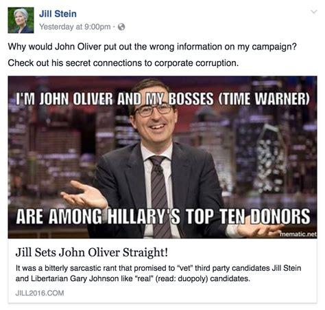 John Oliver Memes - jill stein blames john oliver for declining donations