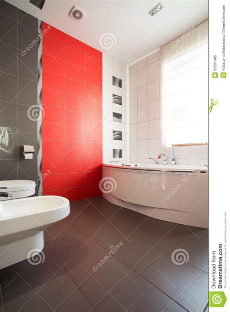 grey and red bathroom grey and red bathroom stock image image of interior
