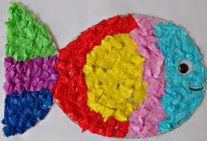Tissue Paper Ideas Crafts - tissue paper fish easycraftsforchildren