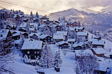 Cabin House by Mountains Landscapes Snow Trees Houses Europe Switzerland