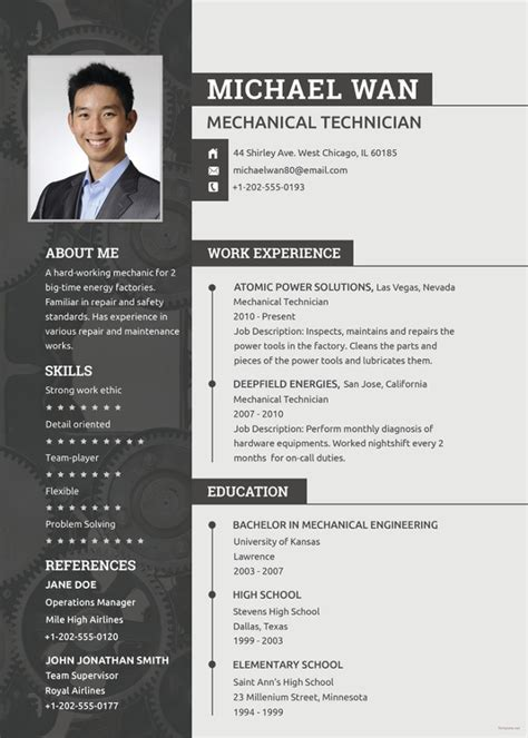 Mechanical Engineering Resume Templates by Mechanical Engineering Resume Template 5 Free Word Pdf